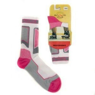 Носки для роликов Rollerclub Perfomance (Бело-Розовые)
